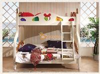 Giường 2 tầng trắng kem cho bé gái